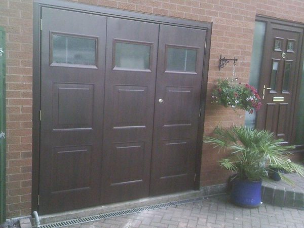 wooden pedestrian garage door