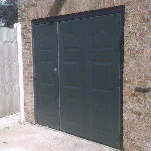 black pedestrian garage door