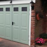 pale green side hinged garage door