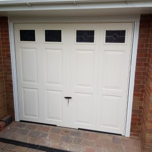 ivory up and over canopy style garage door