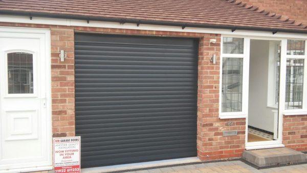 black automatic roller garage door