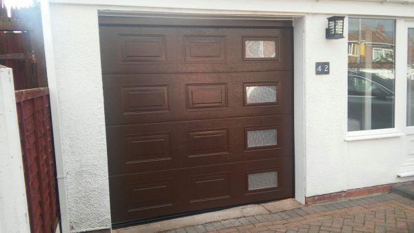 brown sectional garage door installation
