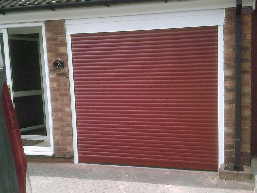 red electric garage door