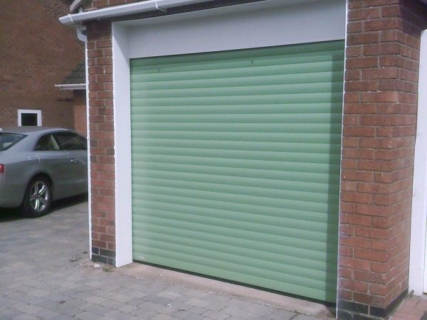 light green electric roller garage door