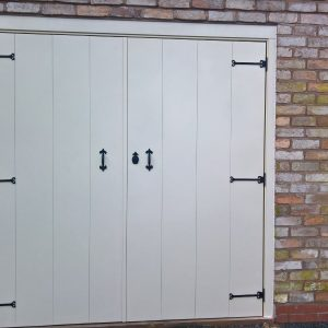 select ivory wooden side hinged garage door