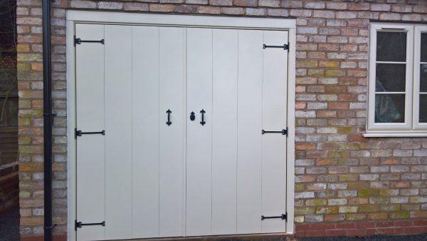 select ivory wooden side hinged garage door
